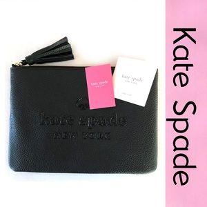 KATE SPADE Clutch Tassel Black Bag Pouch NEW